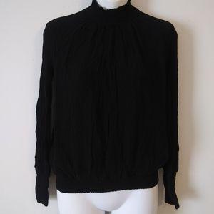 Zara Trafaluc Black Crepe Turtleneck Blouse Small